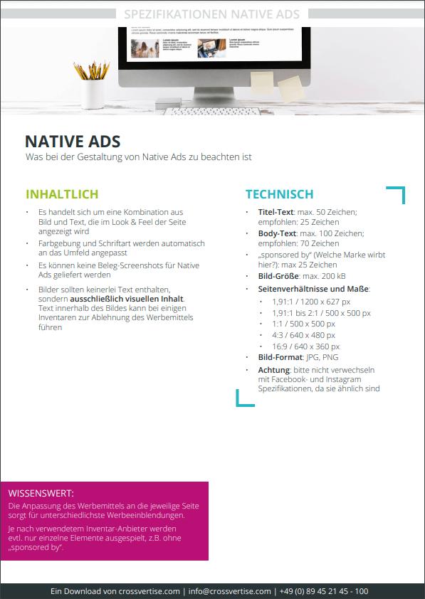 Spezifikation Native Ads