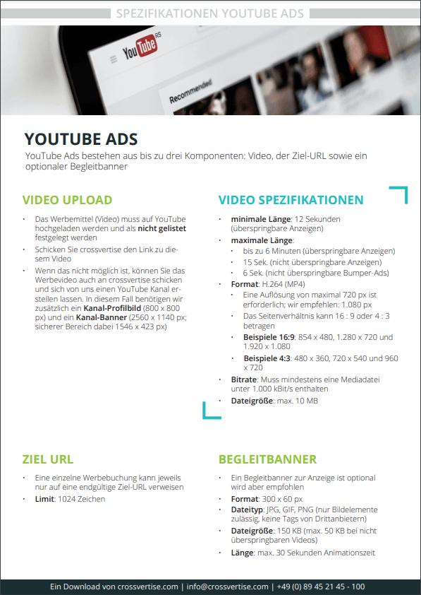 Spezifikation YouTube Ads