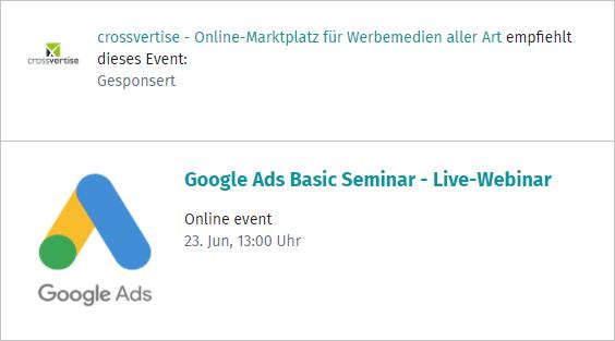 XING Ads - Beispiel-Anzeige Event