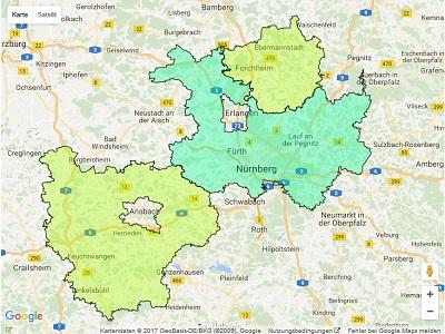 Radiowerbung Sendegebiet Radio Gong 97.1 (Nürnberg)