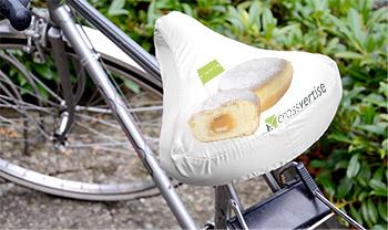 Werbung auf Fahrradsattelbezügen
