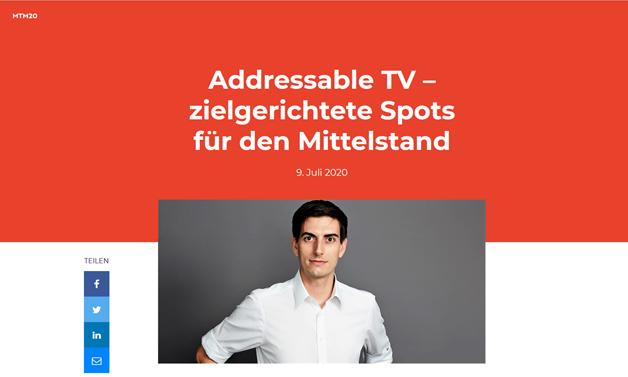 Das Bild für Addressable TV – zielgerichtete Spots für den Mittelstand