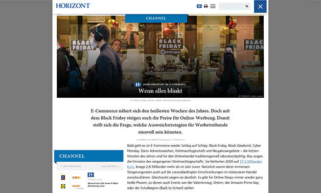 Das Bild für HORIZONT: Werbestrategien zu Black Friday, Cyber Monday & Co.