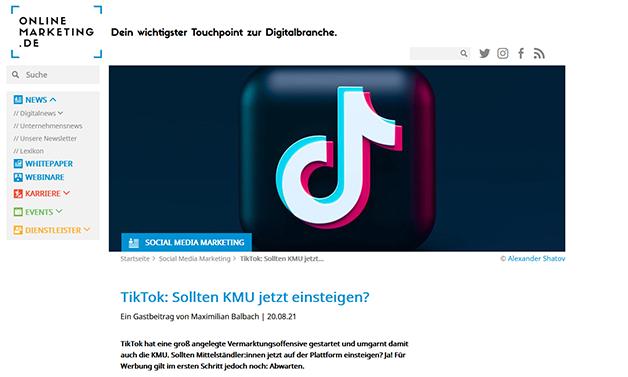 Das Bild für onlinemarketing.de: TikTok – Sollten KMUs jetzt einsteigen?