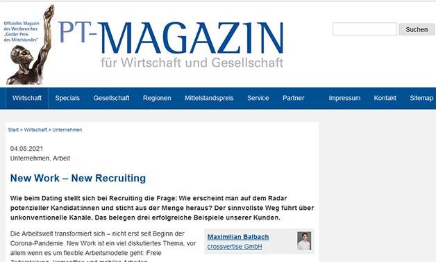 Das Bild für PT-Magazin: New Work – New Recruiting
